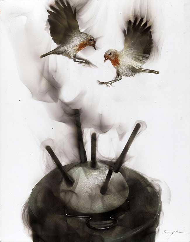 , Cet Artiste Peint avec un Briquet, du Feu et de la Fumée (video)