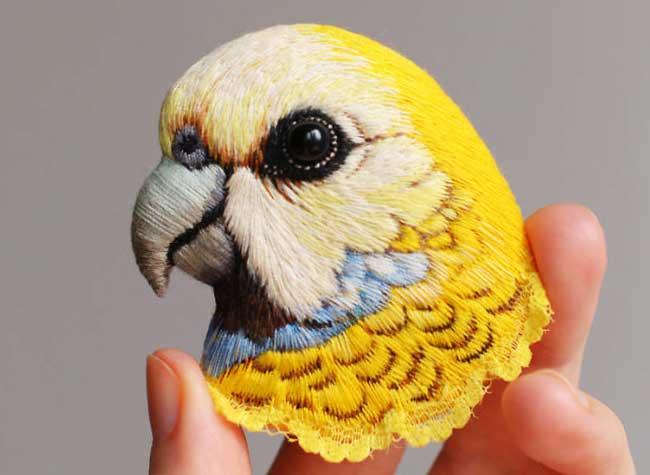 Broche Brodées Tete Oiseau