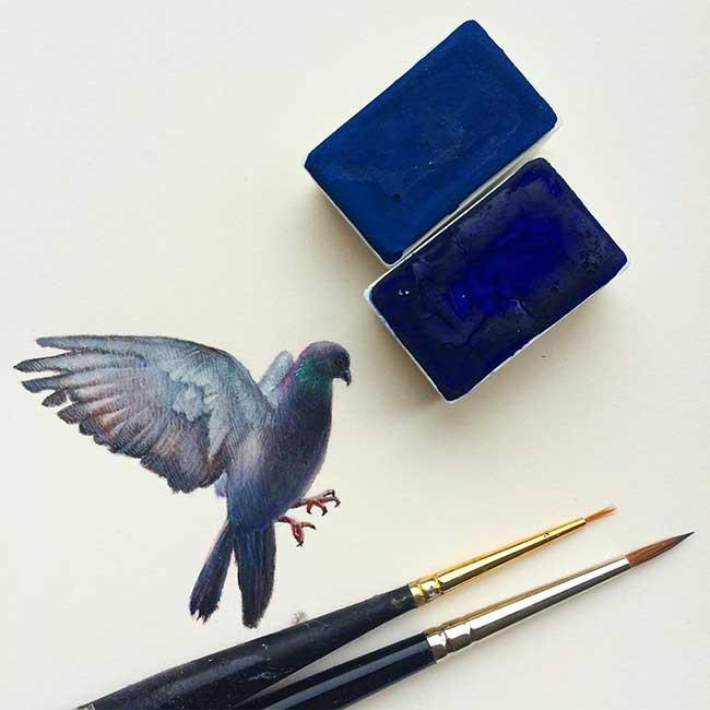 , Fascinantes Peintures d'Oiseaux Miniatures par Dina Brodsky