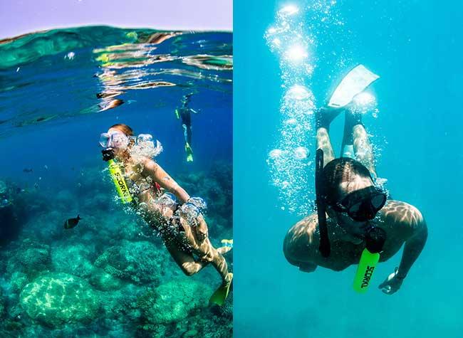 scorkl mini bouteille plongee respirer sous eau 2 - Mini Bouteille de Plongée Scorkl pour Respirer sous l'Eau (video)