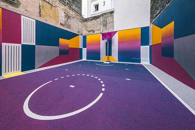 terrain basket paris duperre, Le Terrain de Basket Paris Duperré aux Couleurs de l'Arc en Ciel