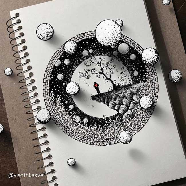 , Cet Artiste fait Jaillir ses Dessins 3D de la Page et c'est Eblouissant !