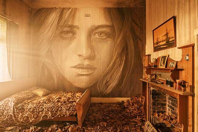 Rone Portraits Femmes Art, Portraits de Rêveuses sur les Murs d'une Maison Abandonnée