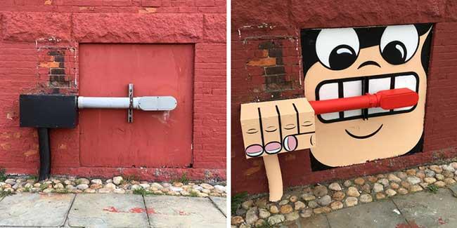 tom bob street art detournement 2 - Ces Détournements d'Objets Urbains Amusent les New-Yorkais
