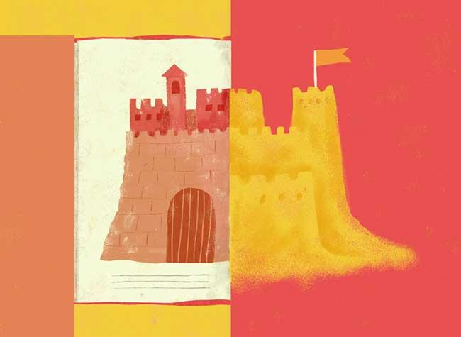 Illustrations Lucia Calfapietra GNV, La Vie Quotidienne vs Vacances dans un Mash Up Artistique