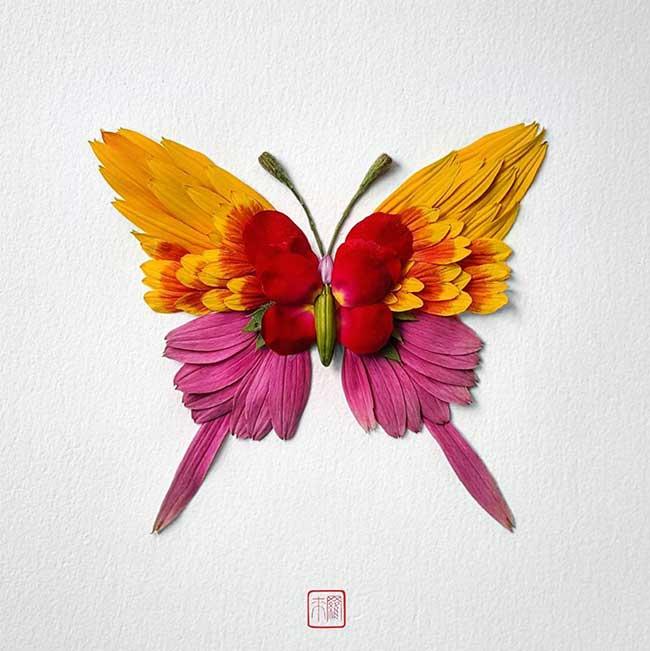Composition Florales Insectes Raku Inoue