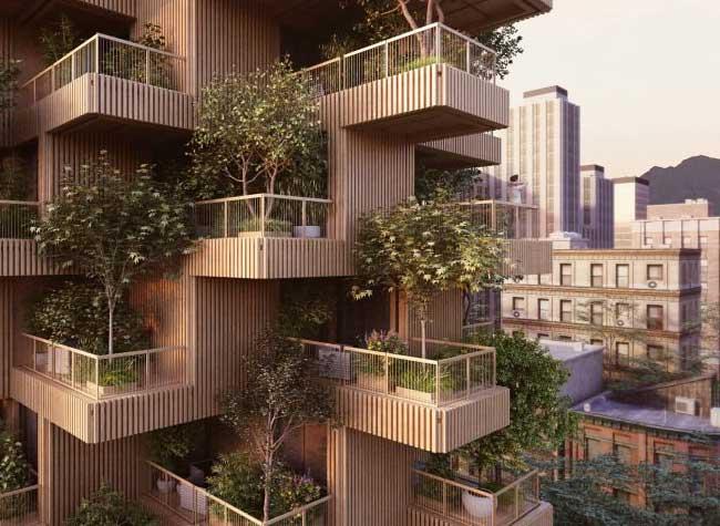 toronto tree tower tour bois plantes, Toronto Tree Tower, une Tour de Plantes et de Bois Haute de 18 Etages
