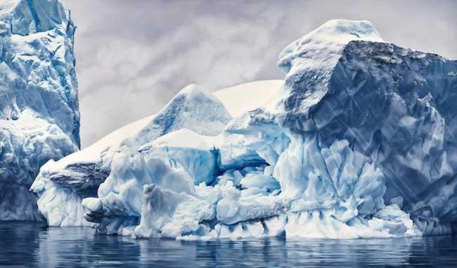 L'Antarctique dans des Dessins au Pastel au Réalisme Photographique