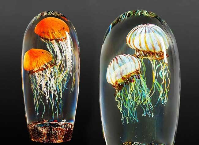 Meduses Verre Sculpture Richard Satava