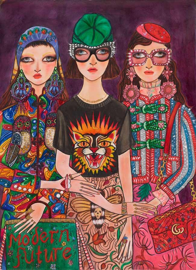 collection mode illustration gucci unskilled worker, Unskilled Worker x Gucci, une Collaboration Naive et Artistique
