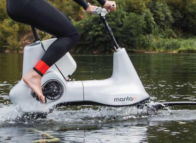 hydrofoiler manta5 bike velo electrique hybrid mer pedalo 5 - Hydrofoiler XE-1, un Vélo Électrique pour Rouler sur l'Eau (video)