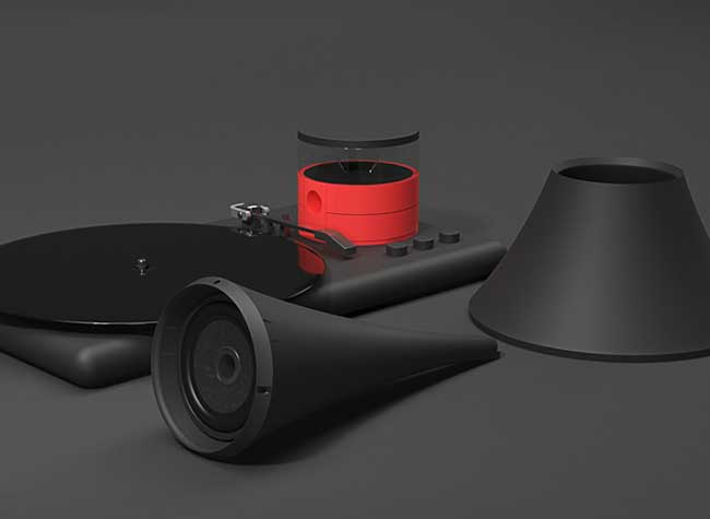 Kozmophone Gramophone Tourne Disque Connecte Hologramme, Voici le Premier Tourne-Disque Gramophone avec Hologramme