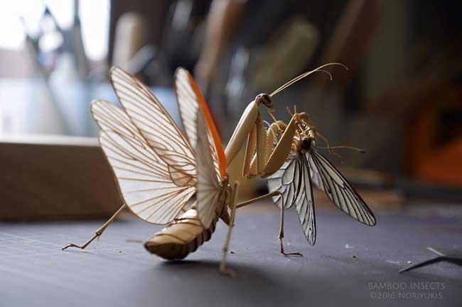noriyuki saitoh sculptures insectes bambou 1 - Il Sculpte en Bambou d'Etonnants Insectes Grandeur Nature