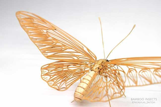 noriyuki saitoh sculptures insectes bambou 10 - Il Sculpte en Bambou d'Etonnants Insectes Grandeur Nature