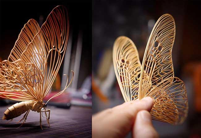 noriyuki saitoh sculptures insectes bambou 2 - Il Sculpte en Bambou d'Etonnants Insectes Grandeur Nature