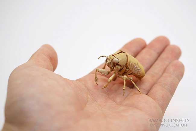 noriyuki saitoh sculptures insectes bambou 8 - Il Sculpte en Bambou d'Etonnants Insectes Grandeur Nature