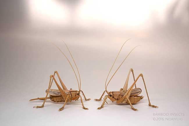 noriyuki saitoh sculptures insectes bambou 9 - Il Sculpte en Bambou d'Etonnants Insectes Grandeur Nature