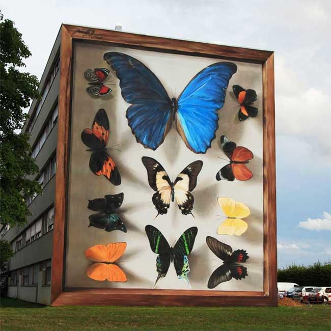 papillons murs street art mantra