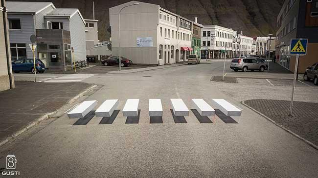 passage pieton 3d street art Islande, Quand un Passage Piéton en 3D Incite les Automobilistes à Ralentir