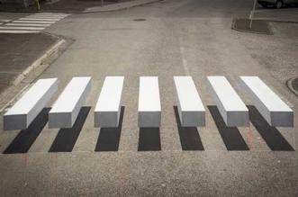 passage pieton 3d street art Islande