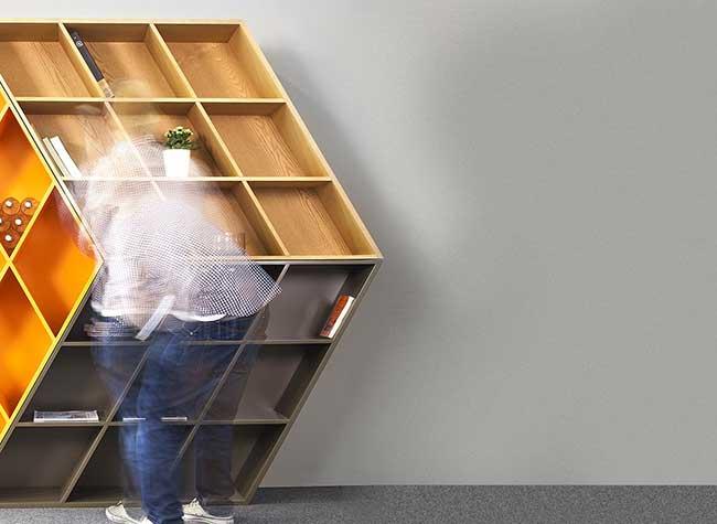 George Bosnas Bibliotheque Rubiks Cube Rubika Bookcase, Ce Rubik's Cube en Fausse 3D est une Véritable Bibliothèque