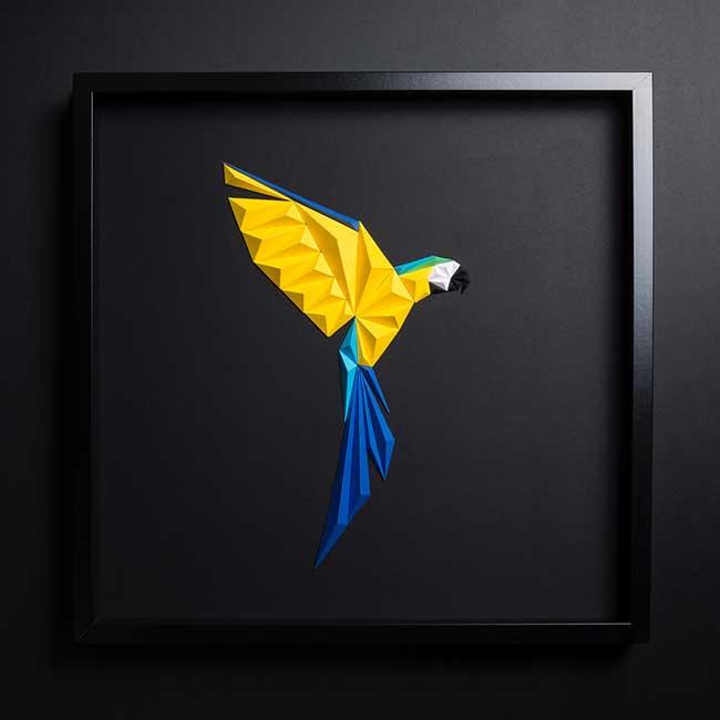 tayfun tinmaz illustration papier 3d papier, Illustrations 3D d'Oiseaux Exotiques en Pliage de Papier