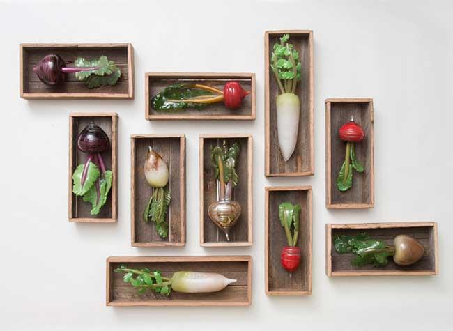 Amanda Dziedzic Art Sculptures Verre Legumes, Ces Légumes plus Vrais que Nature sont Sculptés dans du Verre