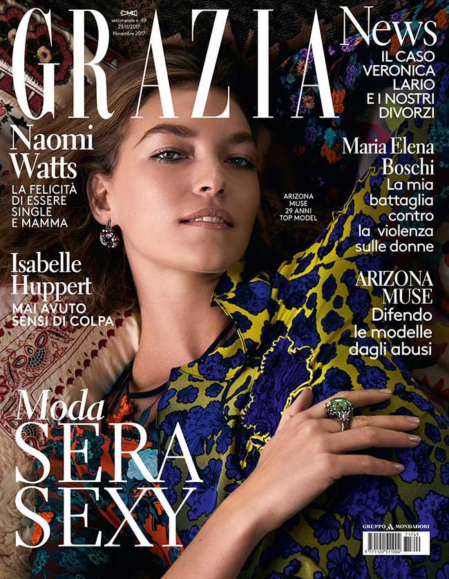 arizona muse couverture magazine grazia italie, Arizona Muse Chic et Cosy pour Grazia italy