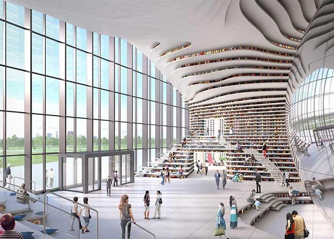 bibliotheque tianjin chine mvrdv