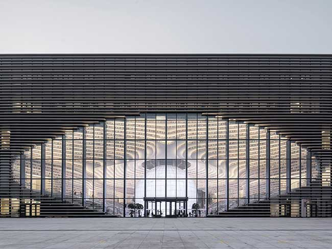 bibliotheque tianjin chine mvrdv, 1,2 Million de Livres dans cette Bibliothèque Chinoise Tout en Courbes et en Verre