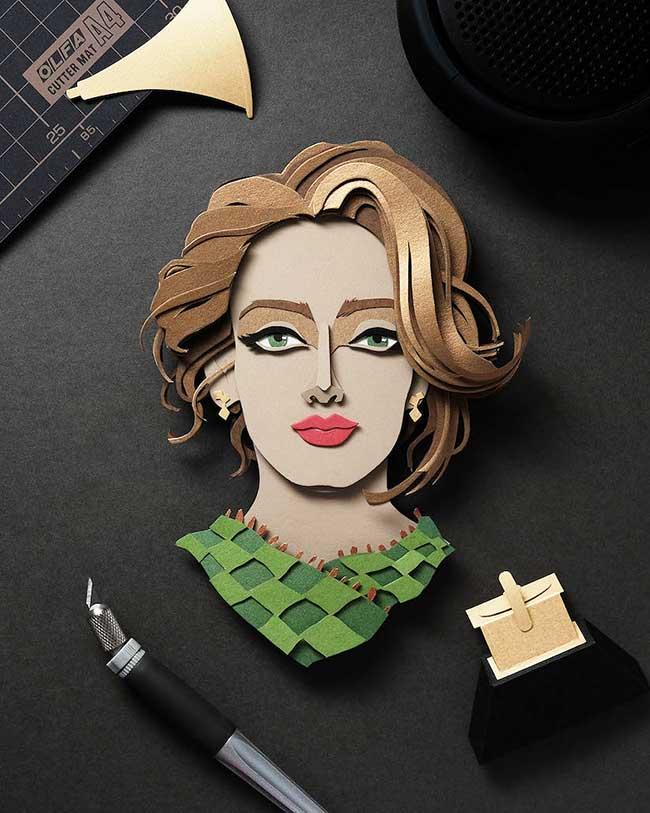 celebrites illustrations papier decoupe john ed de vera, Portraits de Célébrités Illustrés avec du Papier Découpé