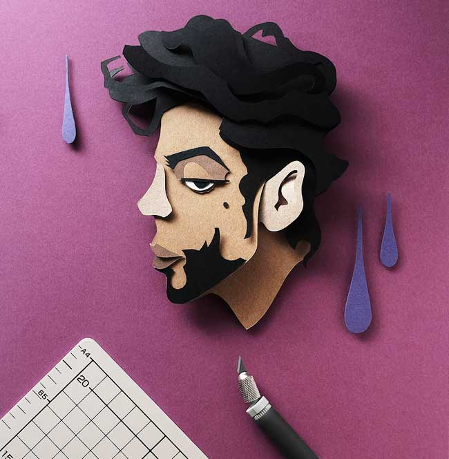 celebrites illustrations papier decoupe 2 - Portraits de Célébrités Illustrés avec du Papier Découpé