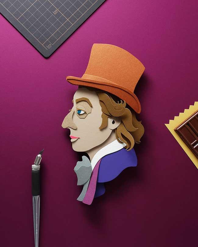 celebrites illustrations papier decoupe 4 - Portraits de Célébrités Illustrés avec du Papier Découpé