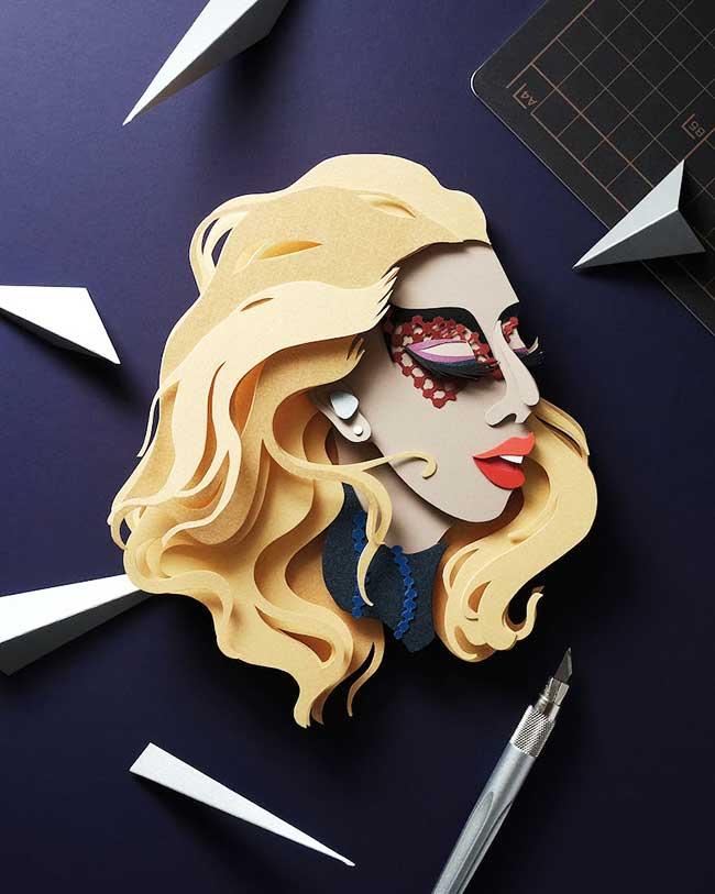 celebrites illustrations papier decoupe 5 - Portraits de Célébrités Illustrés avec du Papier Découpé