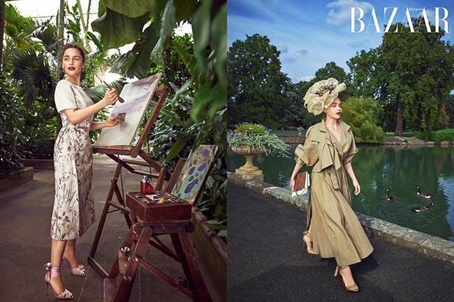 emilia clarke harpers bazar magazine, Emilia Clarke dans un Jardin de Fleurs pour le Harper's Bazaar