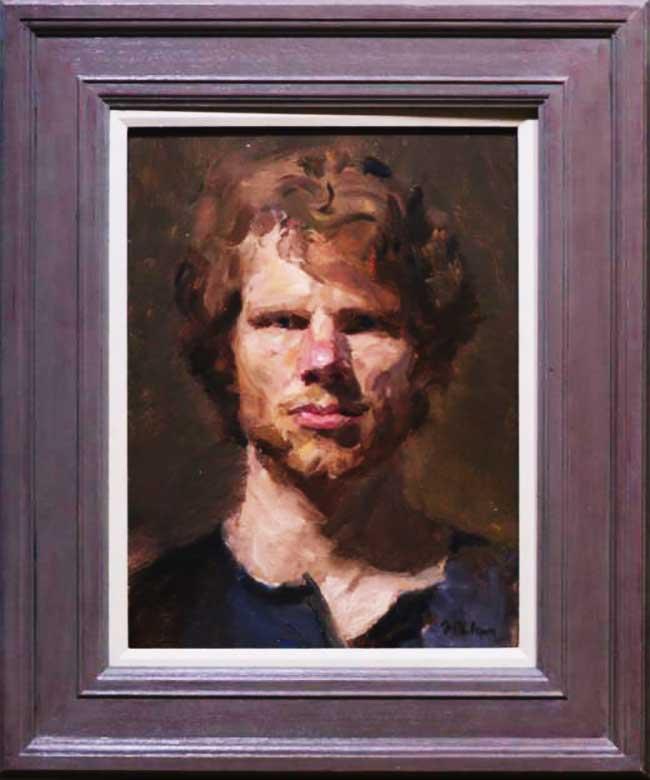 Artiste Ewan McClure, Il Peint son Autoportrait en se Regardant dans le Miroir (video)