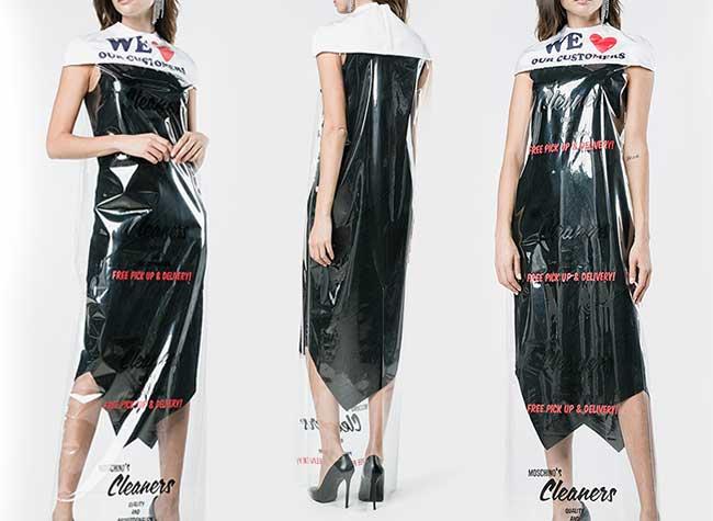 moschino femme cape sac pressing plastique, Moschino Emballe les Femmes dans un Sac Pressing pour 650 Euros