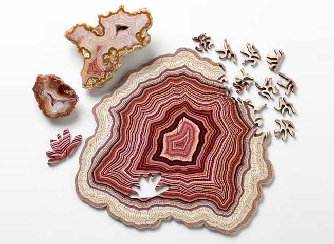 Nervous System Geode Puzzle, Hypnotique Puzzle en Bois Inspiré par les Pierres Précieuses