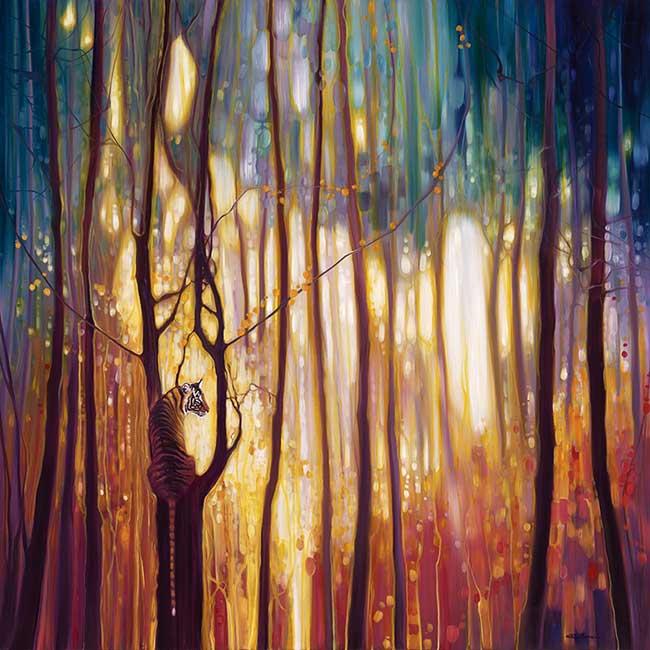 peintures paysages gill bustamante, Dans ses Peintures de Forêts aux Couleurs Eclatantes un Animal nous Observe