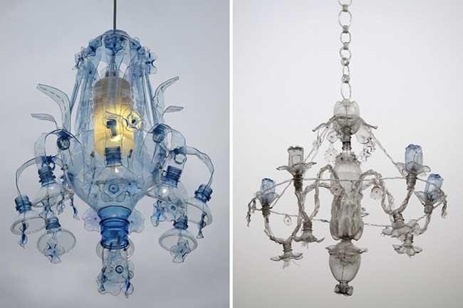 veronika richterova lustres bouteilles plastique recyclage 2 - Elle Recycle les Bouteilles en Plastique en Lustres Baroques