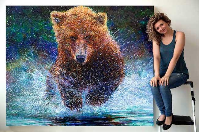 iiris scott animaux peinture doigts