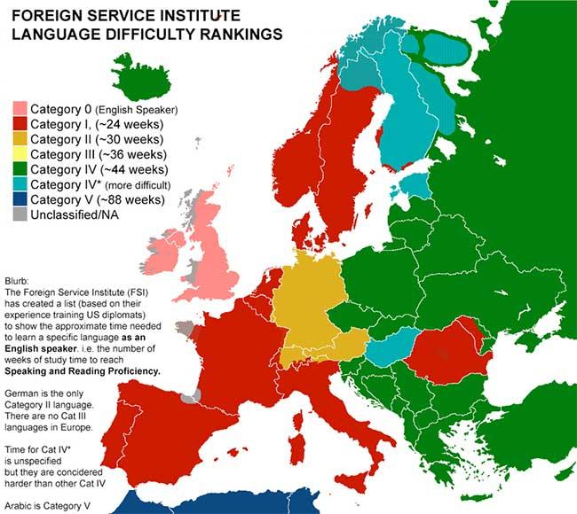 langues carte europe faciles, Cette Carte d'Europe Révèle les Langues les Plus Faciles à Apprendre
