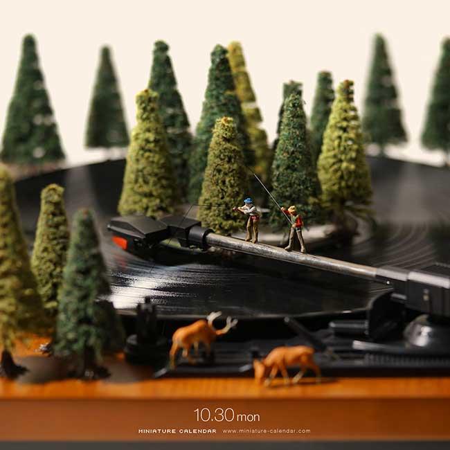 tatsuya tanaka calendrier scene miniatures, Avec ce Calendrier la Nouvelle Année se Fera en Diorama
