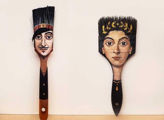 alexandra dillon art portraits recyclage pinceaux, Cette Artiste donne de Drôles de Têtes à ses Pinceaux Usés
