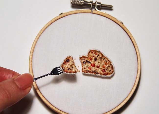 broderie miniature nourriture ipnot cuisine 3 - Elle Brode des Plats de Nourriture Miniatures des plus Réalistes