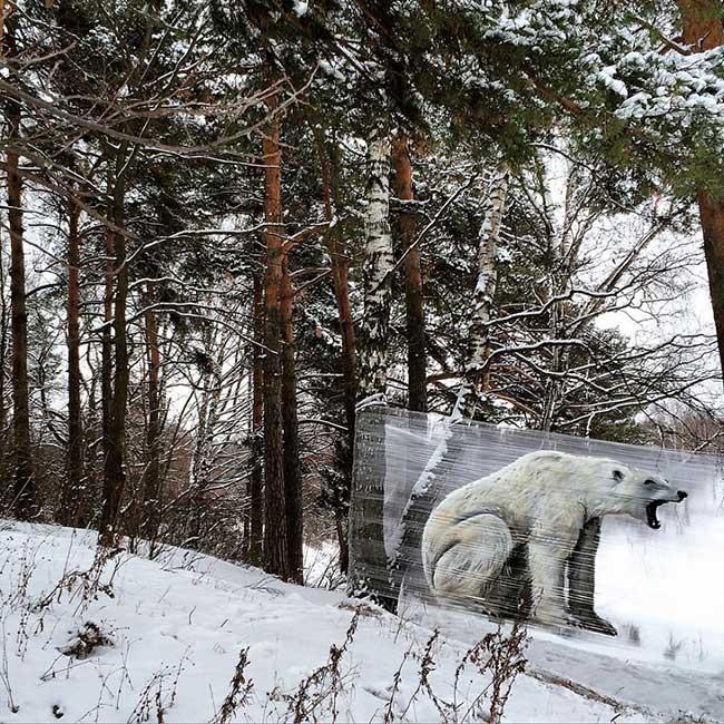 ches ches street art foret cellograffiti film transparent 4 - Sur du Film Cellophane il Peint des Animaux en Foret (video)