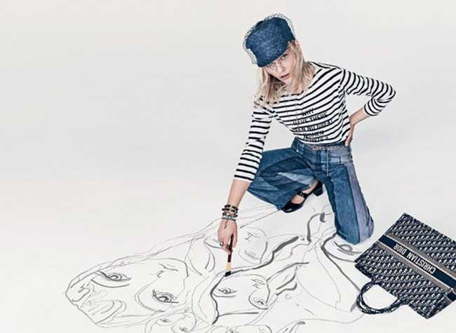 dior femme campagne ete 2018, Pour Dior Ete 2018 Sasha Pivovarova Joue les Artistes en Herbe