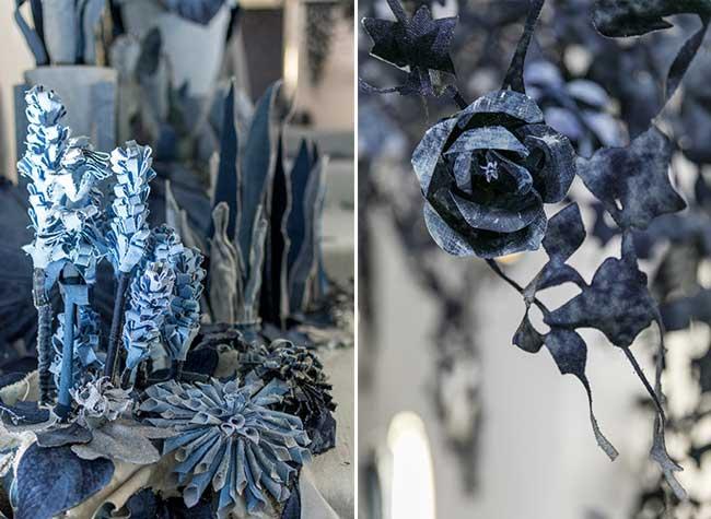 ian berry instalaltion art jeans secret garden, Un Jardin de Fleurs en Toile de Jean pour une Installation d'Art