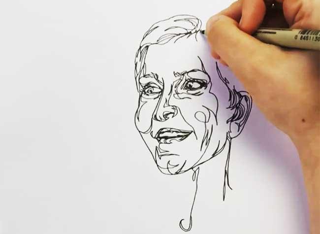 Portraits Katie Acheson Wolford, D'un Trait elle Dessine des Portraits sans Lever la Main