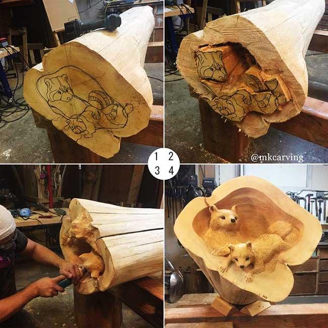 mori kono sculptures bois animaux foret